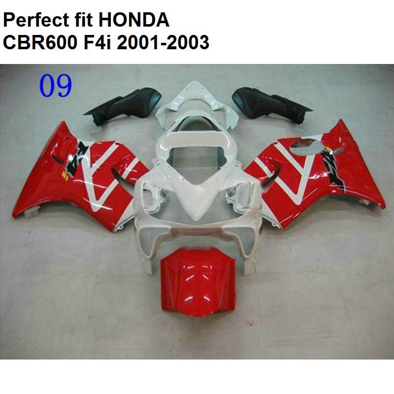 Injection molded fairing for Honda red white CBR 600 F4i 01 02 03 fairings kit CBR600 F4i 2001 2002 2003 CV10