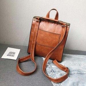 Image 4 - Vintage Women Backpack High Quality Leather Brand Female Black Shoulder Bag Lady Multifunction Backpack Hot School Bags XA216H