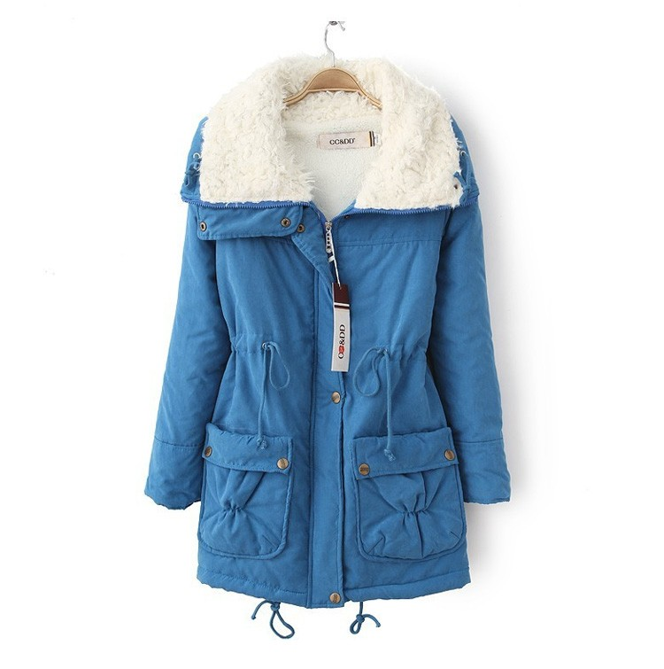 New Fashion Women Turn Down Collar Thicken Warm Lady Slim Winter Jacket And Coats Plus Size Coat Female Lamb\'s Wool Jacket JT350 (5)