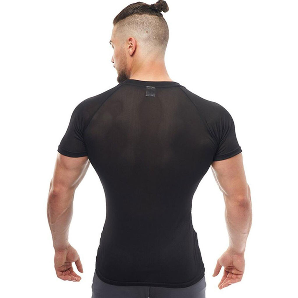 New Men's Smooth Slim Sport T-shirt Fitness Muscle Stretch Soft Tee Tops Clothes Breathable O-neck Solid Color Short Sleeve 1