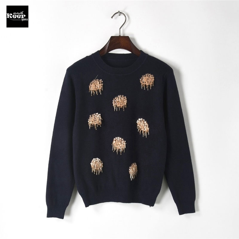 2018 New Autumn Runway Designer Women Sweater Pullover Bead Flower Sequins Shinny Sweaters Jersey Christmas Knitted Top Jumper