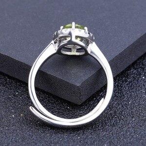 Image 3 - Женское регулируемое кольцо из серебра 925 пробы с натуральным хризолитом