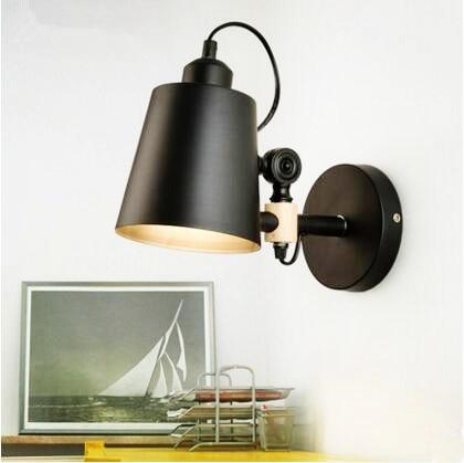 Wood Wall Sconces Nordic LED Wall Light Fixtures Balcony Corridor Adjustable Swing Arm Lamp ...