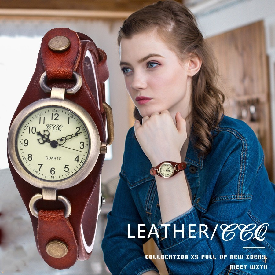 CCQ Brand Fashion Vintage Cow Leather Quartz Watches Women Bronze Dial Casual Female Dress Wristwatches Clock Relogio Feminino