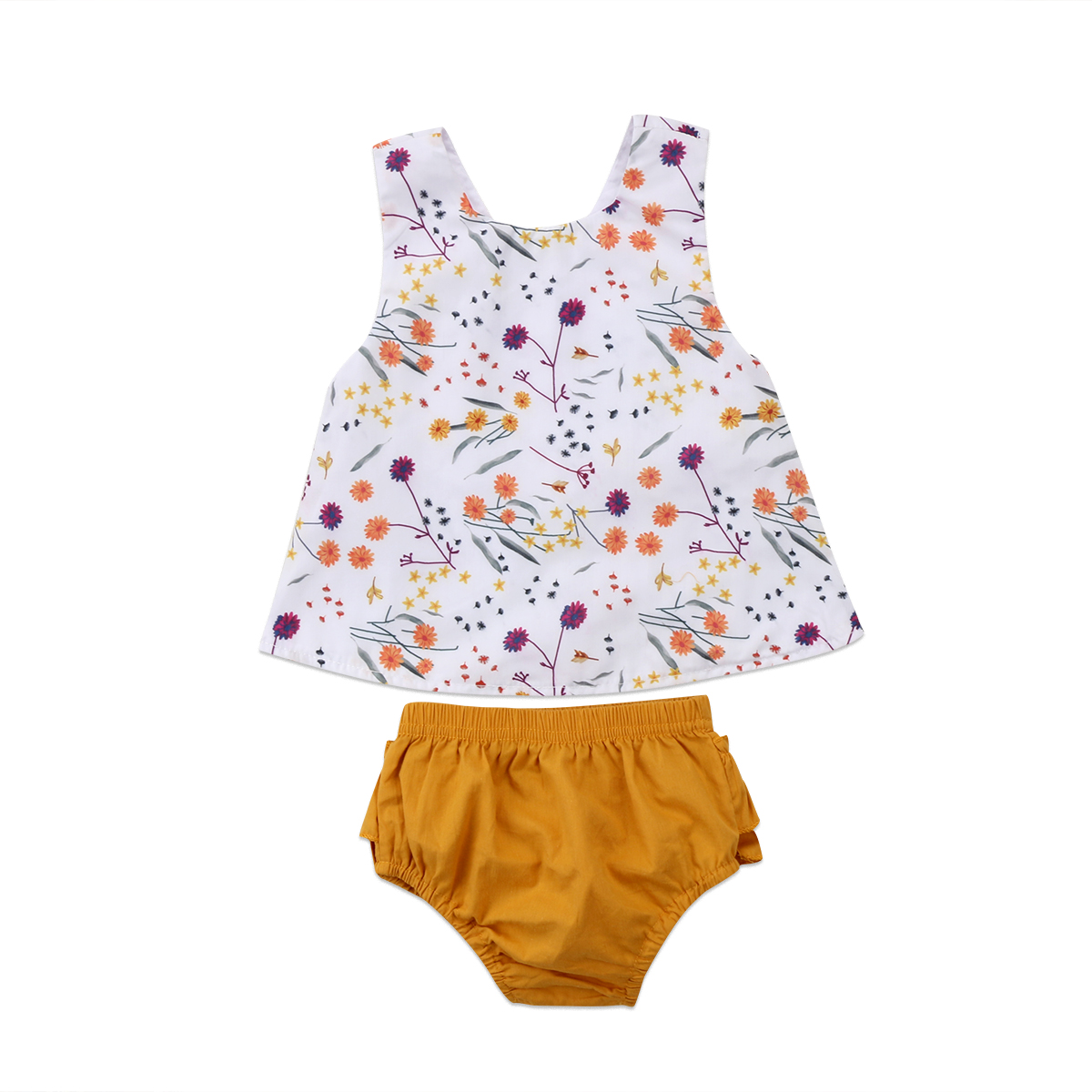 2PCS HOT Sale Toddler Kids Baby Girls Fashion Floral Tops+Yellow Solid Pants Casual Clothes Set 0-18M