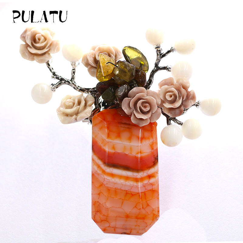 Pulatu Vintage Natural Stone Brooches Pins For Clothing Crystal Coral Inlay White Shell Leaves Women Brooches Party Supplies