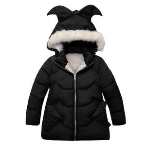 Image 3 - Winter Warm Thicken Fur Collar Long Child Coat Children Outerwear Windproof Fleece Liner Baby Girls Jackets For 100 120cm