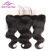 Soft Feel Hair Brazilian Non Remy Hair Straight Ear To Ear Lace Frontal Closure Free Part