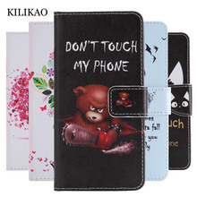 KILIKAO For Samsung A8 2018 Case PU Leather Flip Magnetic Wallet For Samsung Galaxy A8 2018 A530 Case Luxury Painted Phone Cases