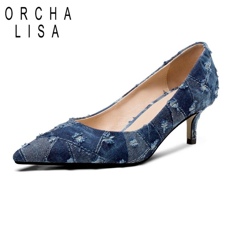 ORCHA LISA Denim chaussures femmes talons hauts dames pompes mince talon haut peu profond bout pointu mode Sexy printemps/automne pompes C540
