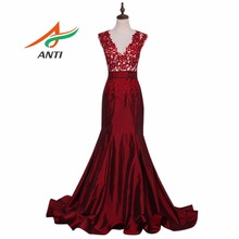 ANTI Fashion Taffeta V Neck Cap Sleeves Long Evening Dresses 2017 Beaded Burgundy Mermaid Floor Length