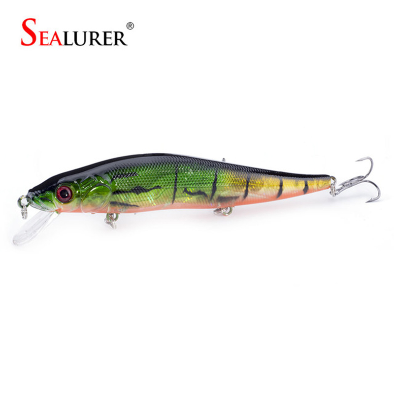 SEALURER Brand Floating Fishing Minnow Lure 14cm 23g Karpas 2 # Āķi 3D Acis Pesca Vilkšana Hard Bait Crankbait Tackle 1pcs / lot