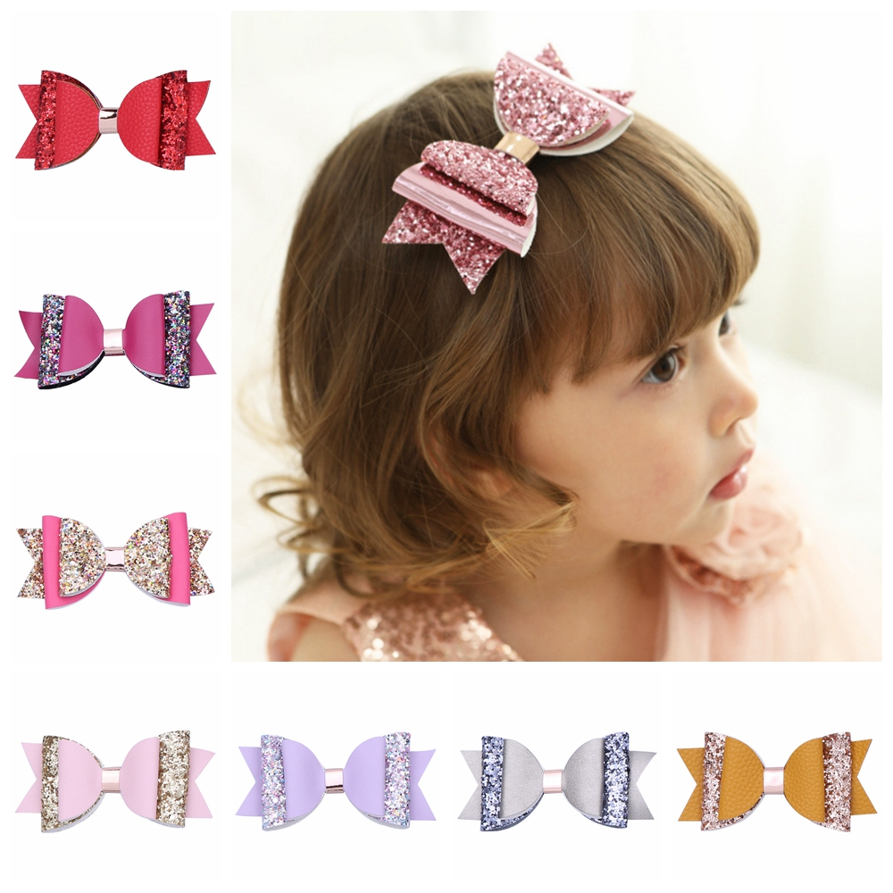 pink glitter bow Star faux leather bow 4 inch star bow
