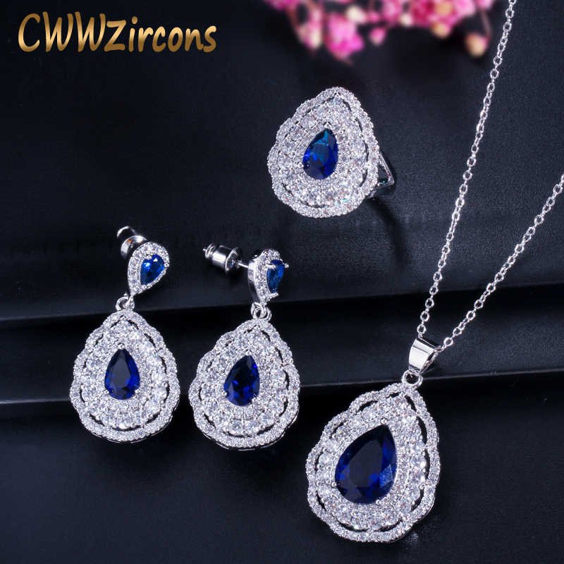 CWWZircons 3 layers Cubic Zirconia Paved Water Drop Blue Earring Necklace Ring 925 Silver Jewelry Set For Women  T283