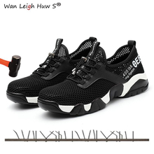 Summer New Lightweight Breathable Mesh Mens Work Safety Shoes Construction Steel Toe Protective Sneaker For Men