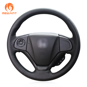 MEWANT Black Genuine Leather Car Steering Wheel Cover for Honda CR-V CRV 2012-2016