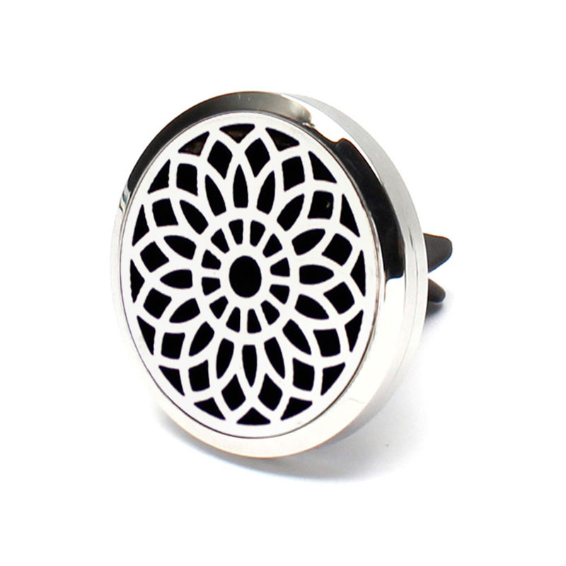 Hot Selling Flower Pattern Aromatherapy Car Diffuser Locket Pendant Stainless Steel Hollow Oout Perfume Lcket For Car
