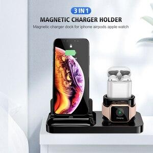 Image 2 - RAXFLY cargador magnético 3 en 1 para iPhone, cargador inalámbrico 3 en 1 para Airpods, soporte para Apple Watch