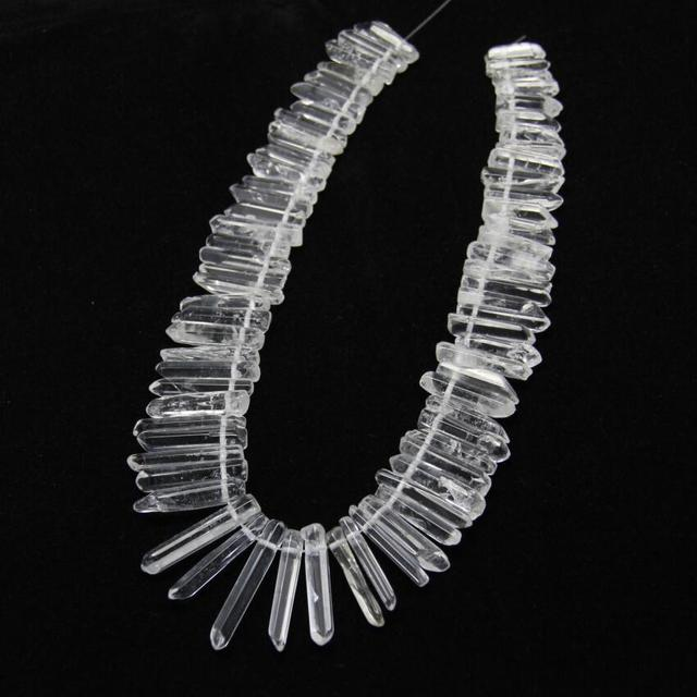 Polished Clear White Quartz Natural Stones Top Drilled Stick Beads Necklace strand,Graduated Raw Crystals Briolettes Spike Point