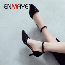 ENMAYER 2019 New Arrival  PU Basic High Heel Pumps Pointed Toe Party Women Spring/autumn Shoes Size 34-43 LY2405
