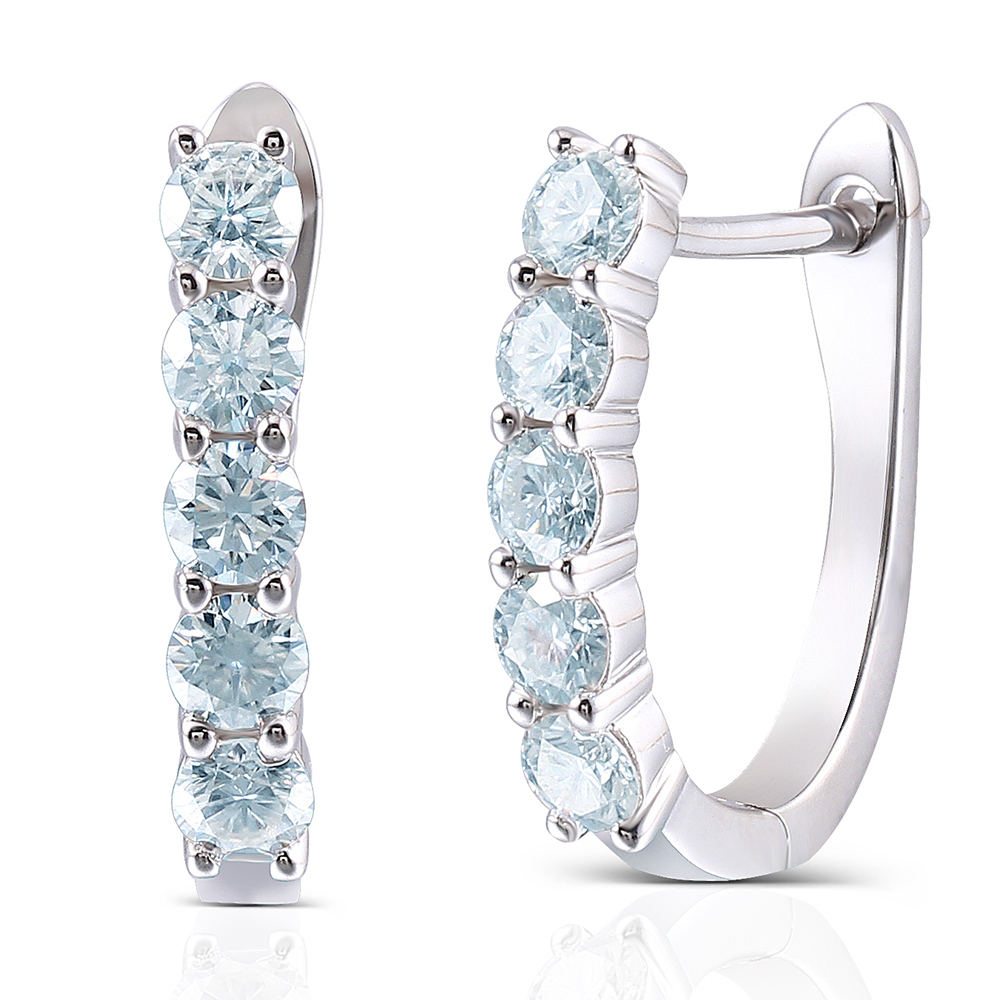 Transgems 1.6CTW 3.5MM Moissanite Simulated Diamond Huggie Earrings U Hoop EarringsPlatinum Plated Silver for Women geometric shaped silver plated blue diamond earrings