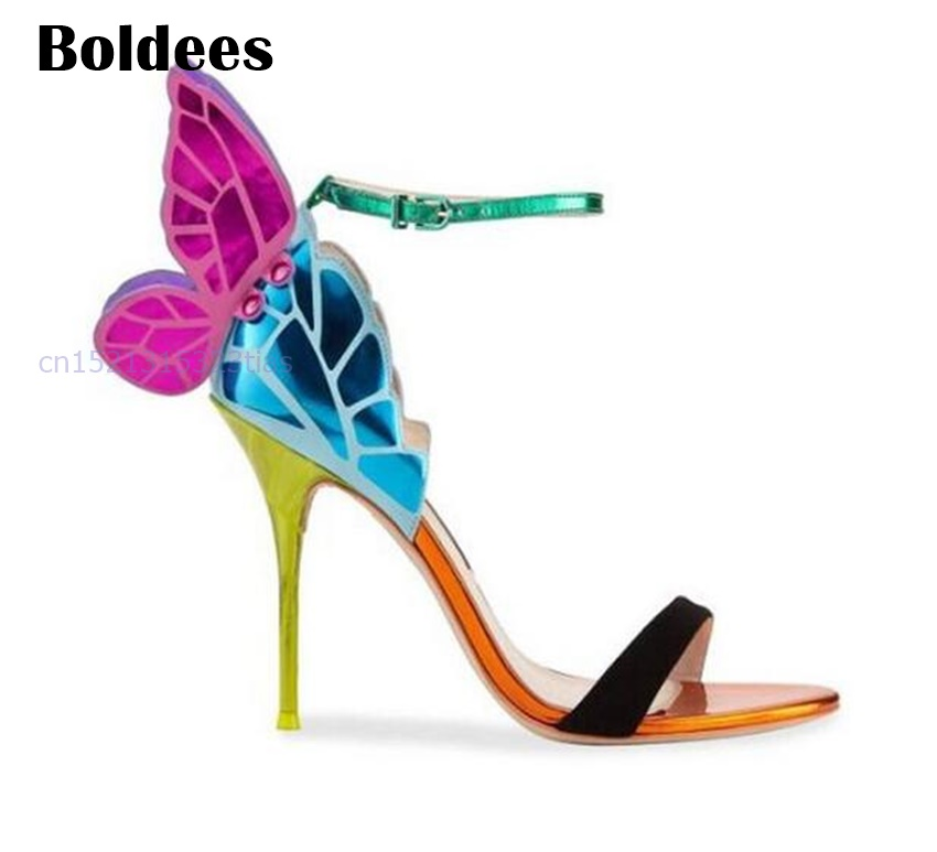 все цены на Fashion Colorful Shoes Butterfly Wings Sandals Thin High Heels Sandalial Ankle-Strap Pumps Party Women Zapatos Mujer онлайн