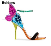 Fashion Colorful Shoes Butterfly Wings Sandals Thin High Heels Sandalial Ankle Strap Pumps Party Women Zapatos Mujer