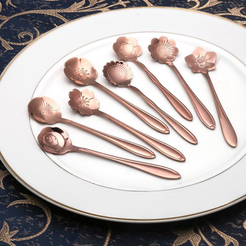 Vintage Flower Shape Icecream Tea Coffee Spoones Small Condiment Spoones Sugar Soup Wonderful