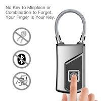 USB Recarregável à prova d' água Anti-Roubo Fechamento Da Impressão Digital Keyless Inteligente IP66 Cadeado Bagagem Caixa Da Fechadura Da Porta de Segurança