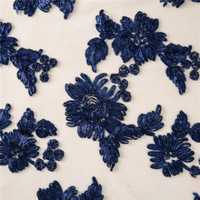 Jacquard weave, jacquard fabric brocade African lace For Wedding Party dress Embroidery navy Blue 5y
