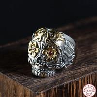 2019 New solid S925 Sterling Silver Skeleton Rings Punk Adjustable skull Ring for Men Male women Wholesale Best Christmas Gift