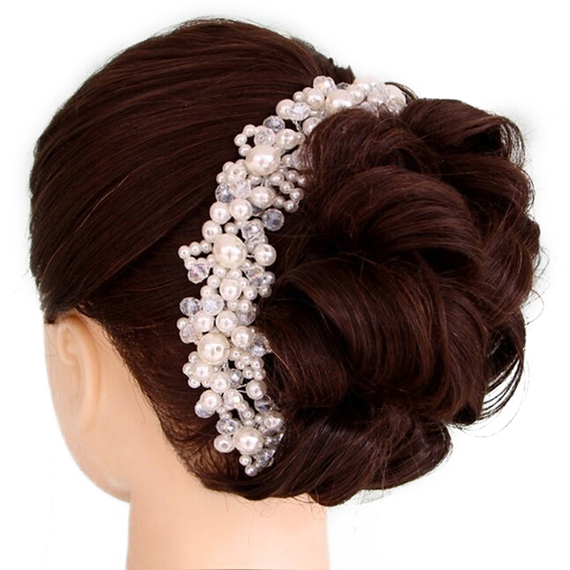 Luxury Wedding Hair Accessories For Bride Crystal Pearl Headbands Tiaras Romantic Bridal HairBand barrettes Hairwear Jewelry