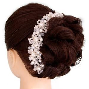 Luxury Wedding Hair Accessories For Bride Crystal Pearl Headbands Tiaras Romantic Bridal HairBand barrettes Hairwear Jewelry