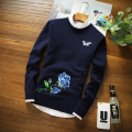 Men's clothing high quality sweaters fall winter style luxury brand embroidery floral man sweater fashion pullovers casual tops