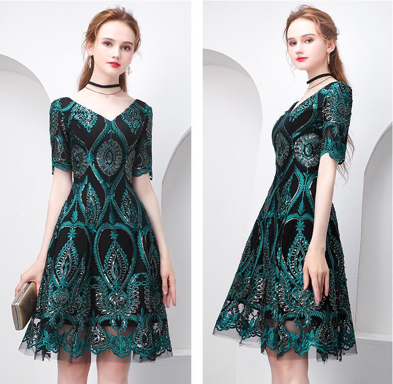 Beauty Emily Vintage pattern short Evening Dress 2019 New year party prom gowns appliques evening dresses vestido para festa