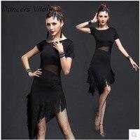 Latin dans elbise tango elbise kadınlar uygulama elbise Latin dans saçak latin elbise performans latin dans elbise S-3XL womens