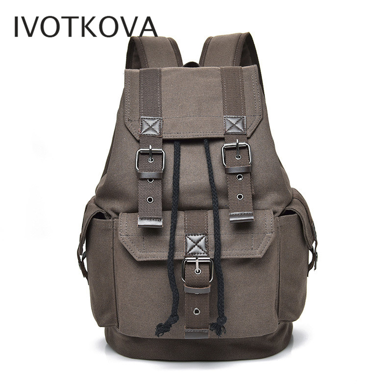 IVOTKOVA New men 39 s backpack vintage canvas backpack school bag men 39 s travel bags large capacity travel laptop backpack in Backpacks from Luggage amp Bags