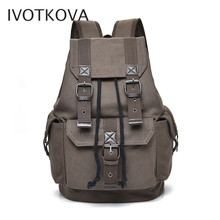 IVOTKOVA New men's backpack vintage canvas backpack school bag men's travel bags large capacity travel laptop backpack