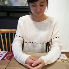 2017 spring autumn Women Rayon Sweater Casual Warm Cotton O-neck Pullover Bow beige