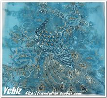 50*135CM Sky Blue Big Peacock Gauze Tulle Sequin Embroidery Flower Fabric Material Yarn Textile African Lace Guipure Sew Dress