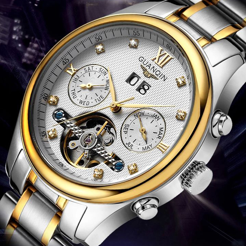 GUANQIN Top brand Men watch Tourbillion watches men Stainless Steel automatic mechanical waterproof Luxury Diamond Mens Watches guanqin men automatic mechanical watch diamond waterproof sapphire watches steel men luxury top brand menb gold wristwatches