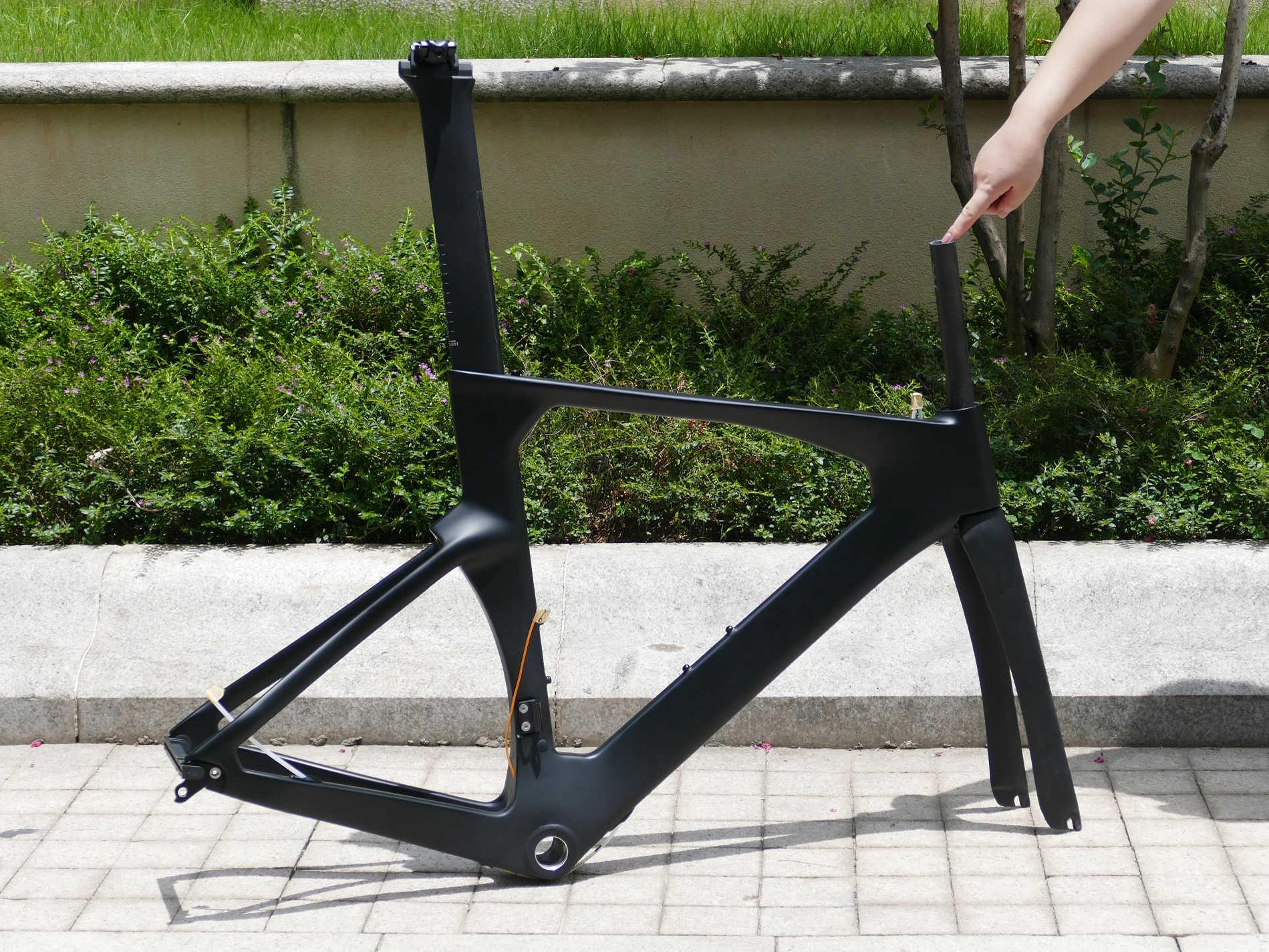 """Marco de bicicleta de carretera 2019 """"Full Carbon UD Matt TT carreras Aero TT camino de carbono bicicleta marco 54cm tenedor tija de sillín"""