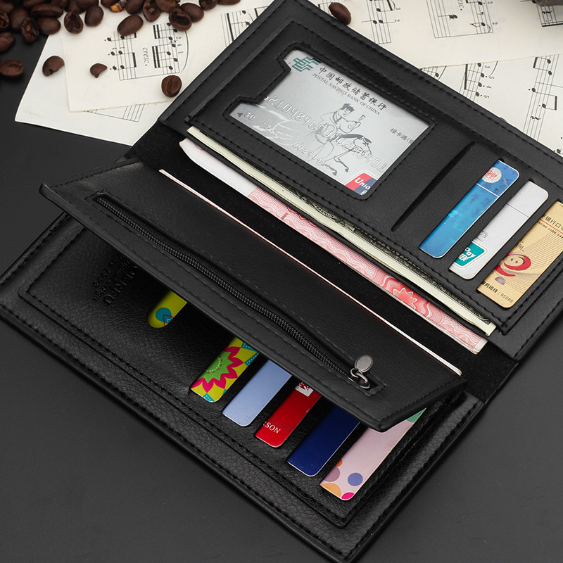 Men's PU Leather Slim Thin Soft Wallet Men Business Long Wallets Male Black ID Credit Card Holder Pocket Purse fashion solid pu leather credit card holder slim wallet men luxury brand design business card organizer id holder case no zipper