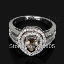 Gorgeous Natural Pear Cut Coffee Diamond font b Ring b font Solid 14Kt White Gold Real