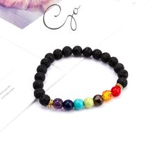 1 pcs Fashion Style 7 Chakra Healing Beaded Bracelet Natural Lava Stone