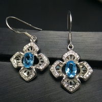 Clover ear drop 925 silver natural color treasure Earrings lucky gem beautiful color