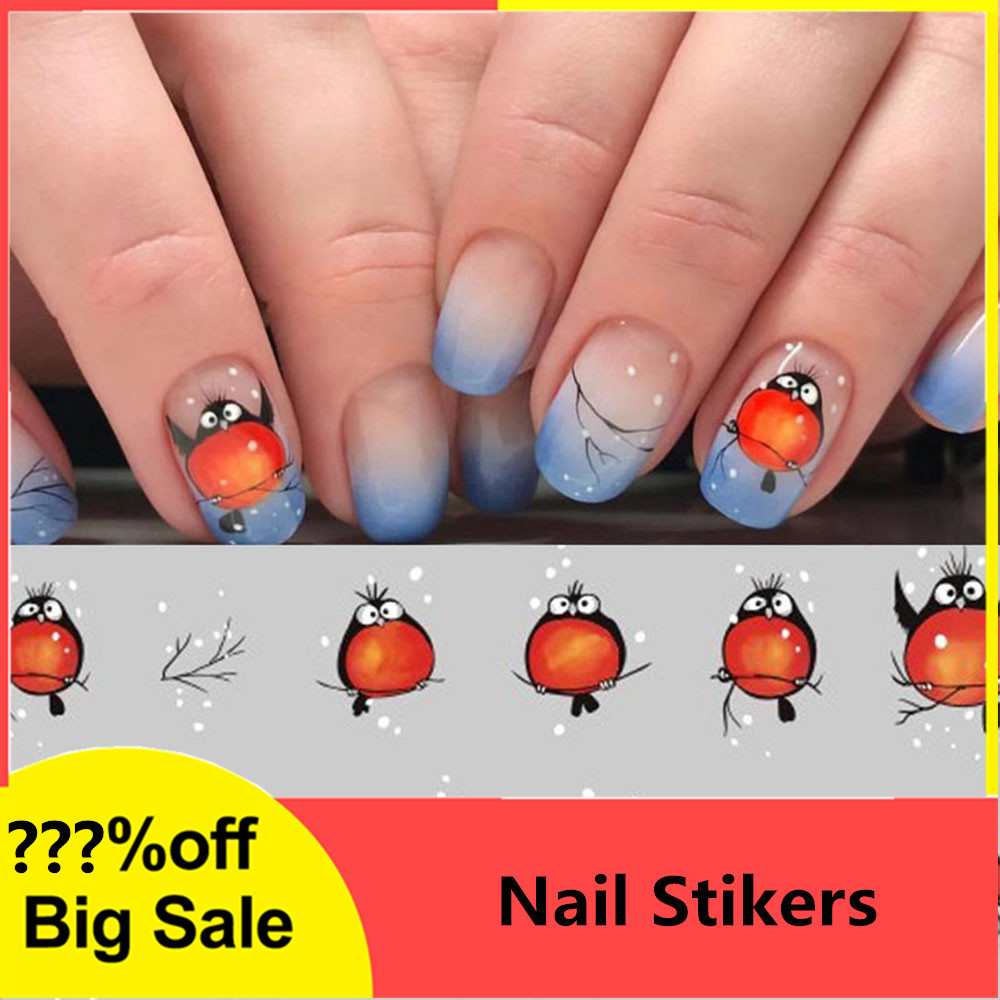 Nail Stickers on Nails Cartoon Pattern Stickers for Nails Water Transfer Stickers Decals Manicure Decoration Fly Bird Nail Art-in Stickers & Decals from Beauty & Health