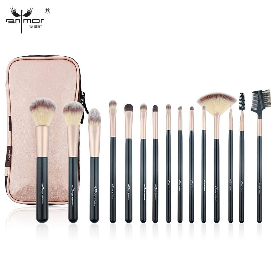 Anmor 15PCS Professional Makeup Brushes Set Kit Travel Make Up Brush Portable Foundation Eyebrow Eyeshadow Powder Cosmetic Bag