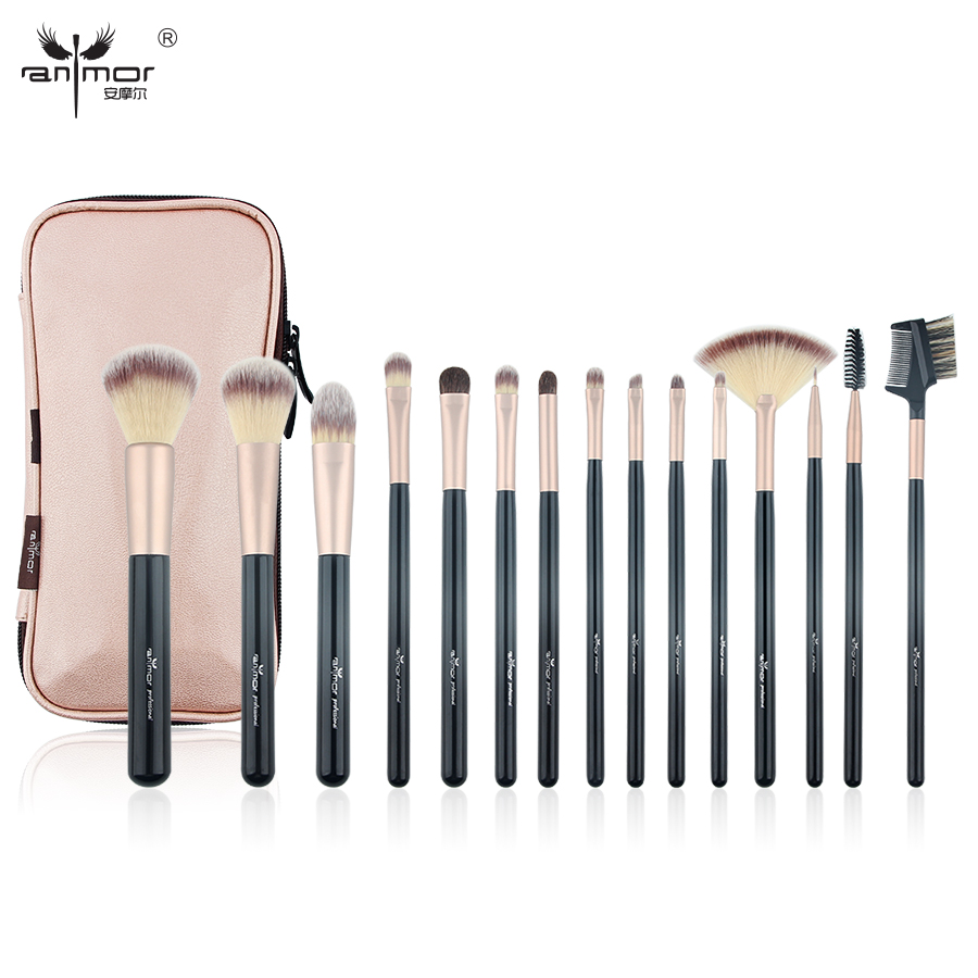 Brushes Professional Makeup Anmor Vendosni furça të reja 15 make up sintetike PCS