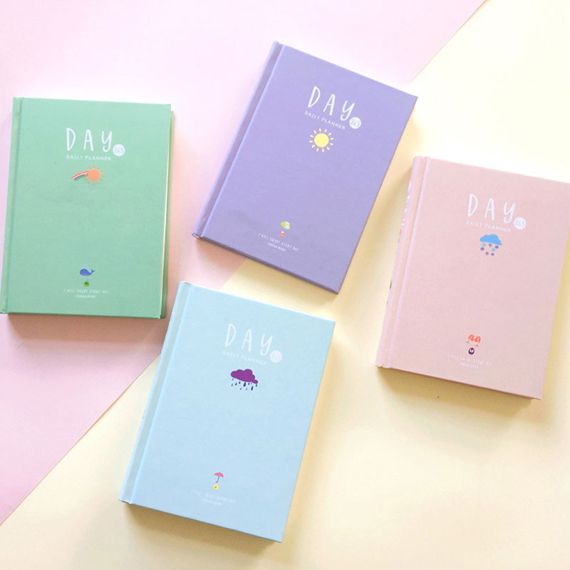 Cute Candy Color 365 Days Weekly Planner Weather Change Notebook Organizer Agenda Daily Planner Stationery School Supplies fromthenon 365 notebooks and journals faux leather cover personal daily monthly weekly planner kawaii stationery school supplies